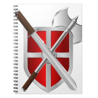 sward del hacha del escudo del asesino libro de apuntes con espiral