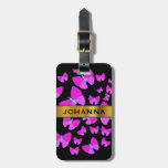 [ Thumbnail: Swarm of Artistic Butterflies + Custom Name Luggage Tag ]