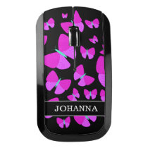 Swarm of Artistic Butterflies   Custom Name Wireless Mouse