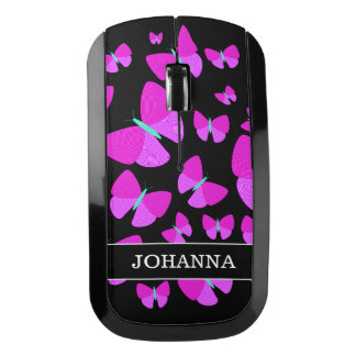 Swarm of Artistic Butterflies + Custom Name Wireless Mouse