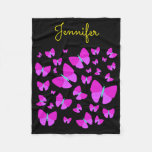[ Thumbnail: Swarm of Artistic Butterflies + Personalized Name Fleece Blanket ]