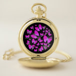 [ Thumbnail: Swarm of Artistic Butterflies Pocket Watch ]