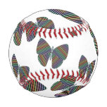 [ Thumbnail: Swarm of Butterflies With Colorful Striped Wings Baseball ]