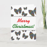 [ Thumbnail: Swarm of Butterflies With Colorful Striped Wings Card ]
