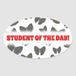 [ Thumbnail: Swarm of Butterflies With Colorful Striped Wings Sticker ]