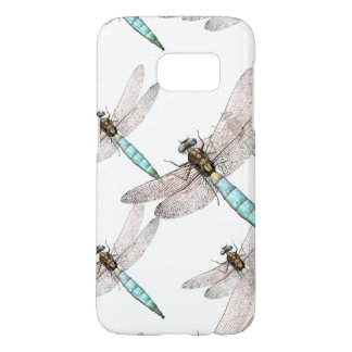 Swarm of Many Dragonflies on White Samsung Galaxy S7 Case
