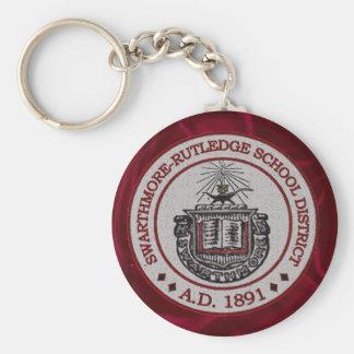 Swarthmore High School with Red Background Basic Round Button Keychain