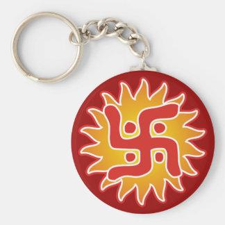 Swastika : Indian Traditional Symbol Basic Round Button Keychain