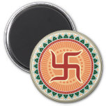 Swastika with Traditional Indian style Mandana 2 Inch Round Magnet