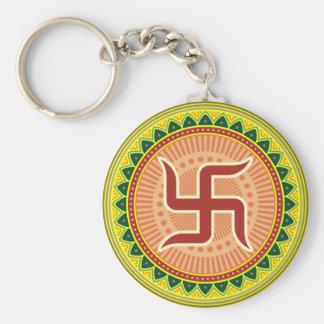 Swastika with Traditional Indian style Mandana Basic Round Button Keychain