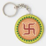 Swastika with Traditional Indian style Mandana Key Chain