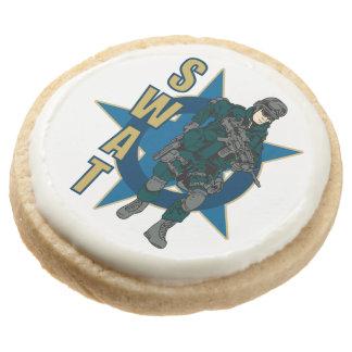 SWAT Police Officer Round Shortbread Cookie