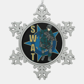 SWAT Police Officer Snowflake Pewter Christmas Ornament