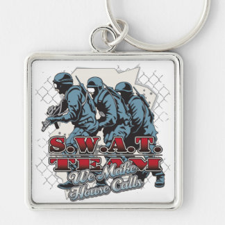 SWAT Team House Calls Silver-Colored Square Keychain