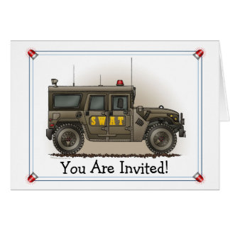SWAT Team Hummer Party Invitation Greeting Card