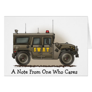 SWAT Team Hummer Police Car Note Card