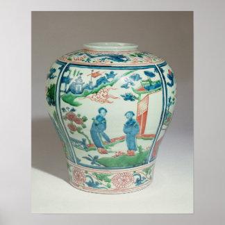 Swatow polychrome oviform jar, late 16th century poster