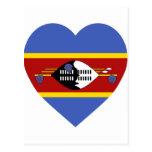 Swaziland Flag Heart Postcard