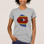 Swaziland flag map t shirts