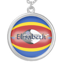 Swaziland Flag   Name Necklace