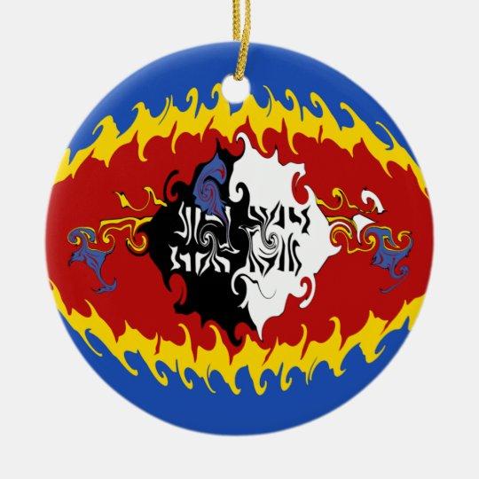 Swaziland Gnarly Flag Ceramic Ornament