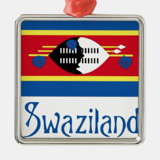 Swaziland Square Metal Christmas Ornament