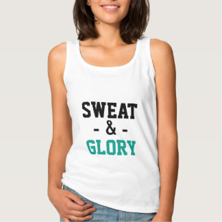 Sweat and Glory - Black Teal on White Basic Tank Top