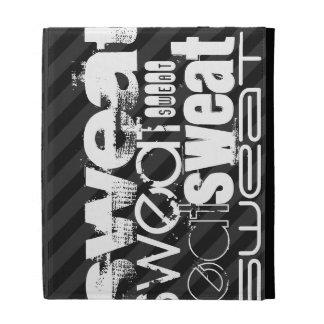 Sweat; Black & Dark Gray Stripes iPad Folio Cases