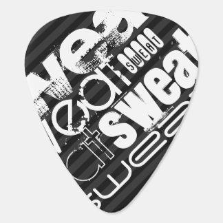 Sweat; Black & Dark Gray Stripes Guitar Pick