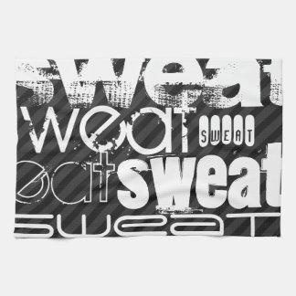Sweat; Black & Dark Gray Stripes Kitchen Towels