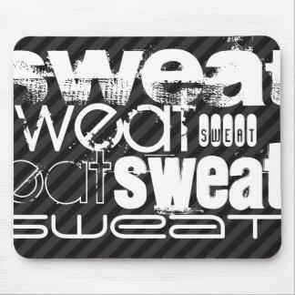 Sweat; Black & Dark Gray Stripes Mouse Pad