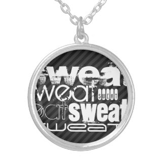 Sweat; Black & Dark Gray Stripes Round Pendant Necklace