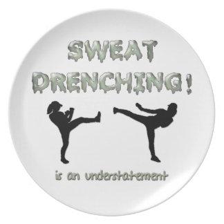 Sweat Drenching Kickboxing! is an understatement Melamine Plate