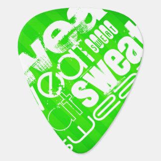 Sweat; Neon Green Stripes Guitar Pick