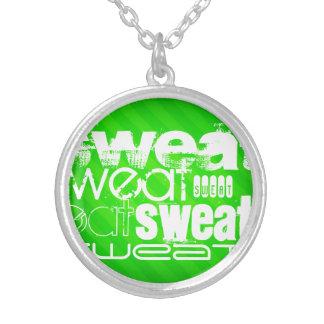 Sweat; Neon Green Stripes Round Pendant Necklace