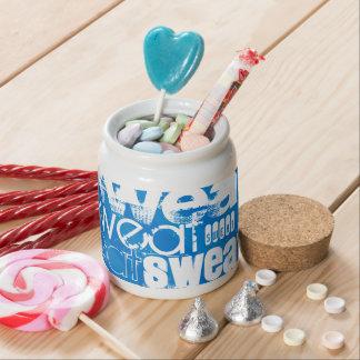 Sweat; Royal Blue Stripes Candy Dish
