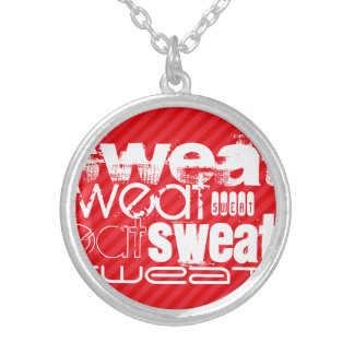 Sweat; Scarlet Red Stripes Round Pendant Necklace
