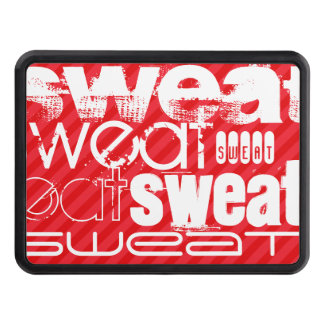Sweat; Scarlet Red Stripes Trailer Hitch Cover
