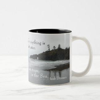 Sweat, Tears, or the Sea (Olympic N.P.) Two-Tone Coffee Mug