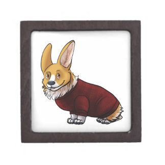 sweater corgi keepsake box