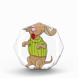 Sweater Dog Sitting Up Cartoon Acrylic Award