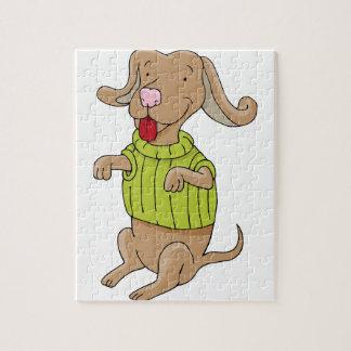 Sweater Dog Sitting Up Cartoon Jigsaw Puzzle