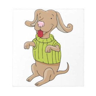 Sweater Dog Sitting Up Cartoon Notepad