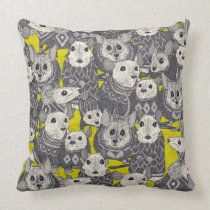 sweater mice chartreuse throw pillow