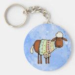 sweater sheep basic round button keychain