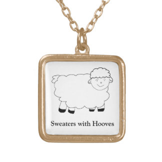 Sweaters With Hooves Square Pendant Necklace