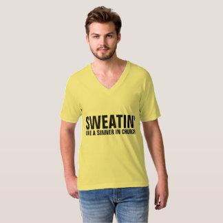 SWEATIN' LIKE A SINNER IN CHURCH workout T-shirts