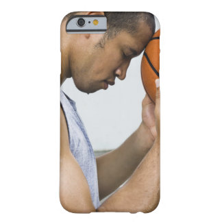 sweating man leaning forehead on basketball barely there iPhone 6 case