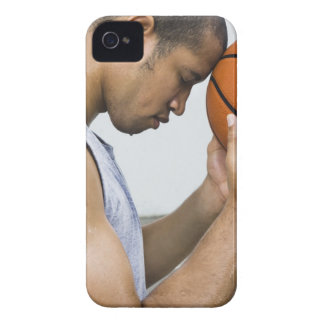 sweating man leaning forehead on basketball Case-Mate iPhone 4 case