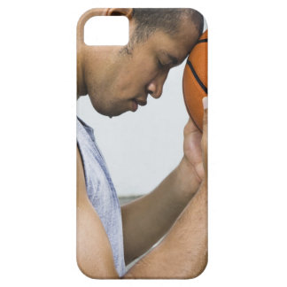 sweating man leaning forehead on basketball iPhone 5 cases